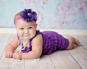 30% OFF SPRING SALE Purple Flower Headband, Lg Petal, Newborn Headband, Baby Headband, Infant Headband, Baby Shower Gift, Flower Girl, Hair