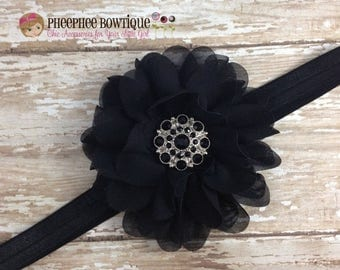 30% OFF SPRING SALE Black Flower Headband, Lg Petal, Newborn Headband, Baby Headband, Infant Headband, Baby Shower Gift, Flower Girl, Hair B