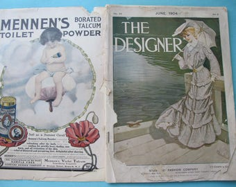 The Designer Magazine June 1904 Fashion & Needlework Edwardian Styles Hats Recipes Corsets Advertising Jewelry Color Plates Women Child