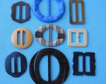 9 Vintage Buckles 1930s 1940s Celluloid Bakelite Early Plastic Embossed Carved Look Tight Top Art Deco Designs Large Sizes