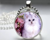 White CAT Pendant, Round Art Photo with chain Necklace, Fluffy White Cat, Angora, Persian Long Haired cat, You choose setting/chain