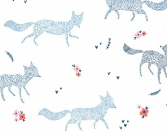 Dear Stella - Pine Grove Collection - Dotted Foxes in White