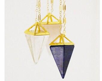 Prism Necklace | Long Crystal Point Necklace | Rose Quartz, Lapis or Clear Quartz