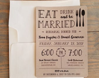 Pre Wedding Party Rehearsal Dinner Invitation, Eat, Drink U0026 Be Married,  Rustic Dinner