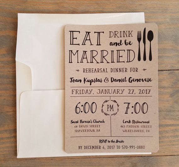 Printable Pre Wedding Party Rehearsal Dinner Invitation, Eat, Drink & Be Married, Rustic Dinner Rehearsal Invitation, Rehearsal Template
