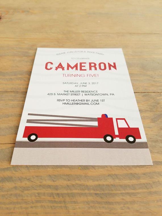 Printable Fire truck birthday invitation, boy birthday invitation, fire truck birthday invitation, little boy birthday invitation