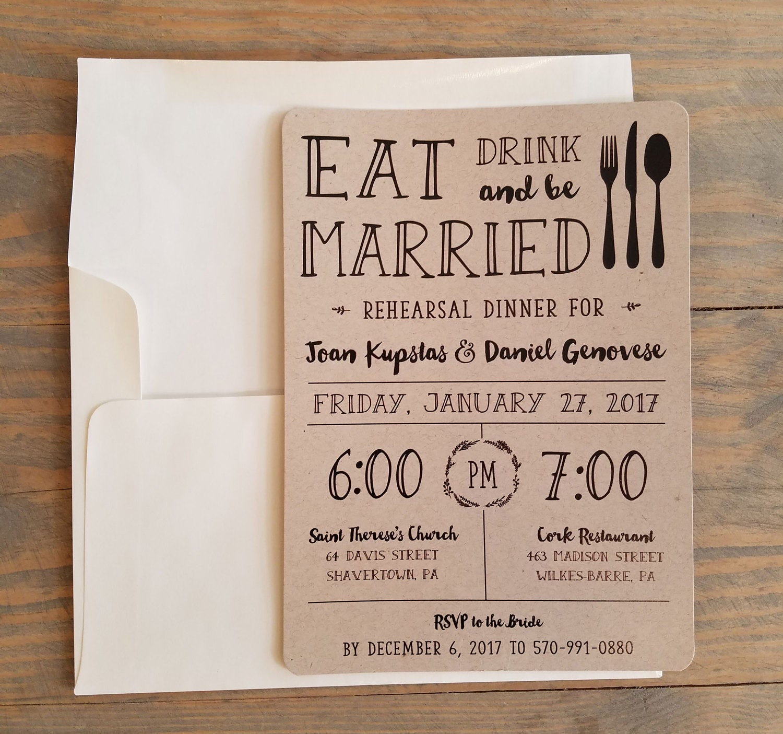 Wedding Rehearsal Invitations: Printable Pre Wedding Party Rehearsal Dinner Invitation Eat