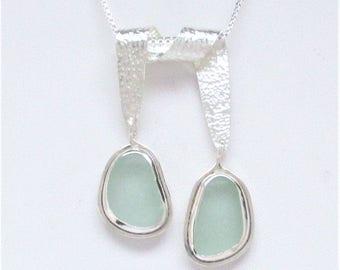 Sea Glass Jewelry - Sterling Double Sea Foam Sea Glass Necklace