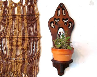 Vintage Boho Wall Houseplant Holder, Carved Wood with Mirror and Plant Shelf