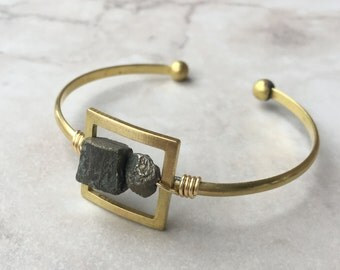 Square Pyrite Cuff | Brass | Adjustable | Geometric