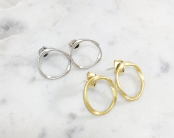 Hoop Stud Earrings | Silver Plated | Gold Plated