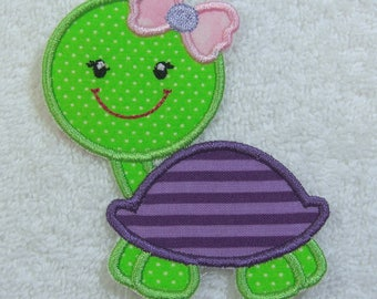 Girlie Turtle with Bow Fabric Embroidered Iron On Applique Patch Ready to Ship
