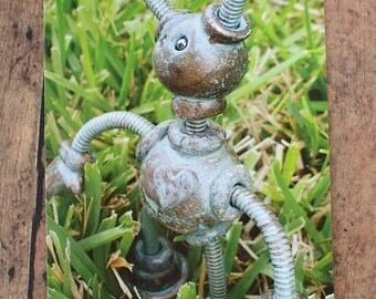 Robot in the Grass Pantia Garden Art Print Postcard
