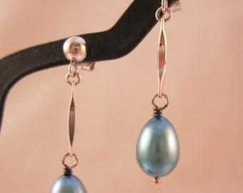 XMAS SALE Fresh Water Blue Pearl Drop Dangle Earrings Sterling Silver Vintage Jewelry Jewellery