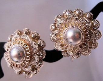 XMAS SALE 1930s Siam Sterling Silver Cannetille Screw Back Earrings Vintage Jewelry Jewellery