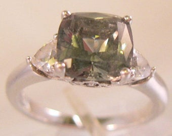 SALE ON Ends 4/30 Vintage Green Amethyst & CZ Sterling Silver Ring Size 7.25