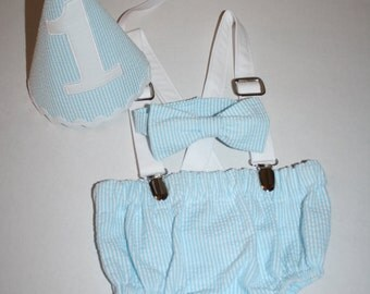 aqua blue and white baby boys 1st birthday outfit, cake smash outfit, first birthday hat, bow tie, diaper cover bloomers, suspenders