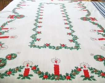 Christmas Tablecloth, Large, holiday, dining cloth, party
