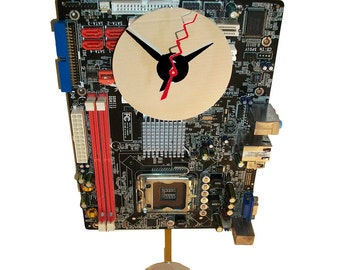 Gifts for Men: Motherboard Pendulum Wall Clock has Unusual & Colorful Components. Unique Office or Lobby Art. FREE SHIPPING USA!