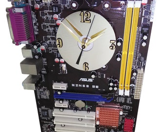 Unusual Dark Brown with Colorful Components Motherboard Wall Clock. A Unique Techie Gift.