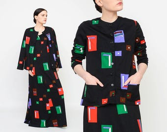 Vintage 70s Black Modern Art Dress - Geometric Dress - Graphic Print Maxi Dress - Matching Set 1970s Button Up Shirt Red Green Blue Medium M