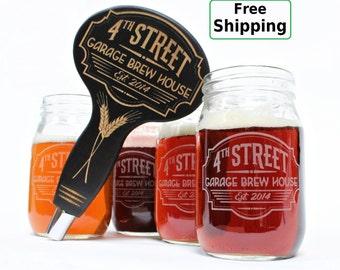 Beer Glasses & Beer Tap Handle Set - Gift for Men - Home brew Gift, Husband Gift, Gift for Dad, Beer Brewing kit