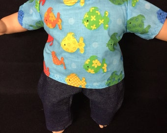 Doll Clothes for 15 Inch Baby Dolls, Handmade to Fit Like American girl Bitty baby dolls, Fish Doll Shirt Doll Jeans Doll Top Doll Pants