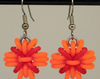 Orange and Red Anemone Earring, fun and funky drop earring, chainmaille earring, orange and red earring, orange
