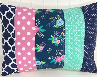 Nursery Pillow Cover, Throw Pillow Cover, Girl Nursery Decor, Shabby Chic, Orchid, Pink, Navy Blue, Teal, Flowers, Floral, 12 x 16 Inches