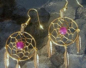 ON SALE BEAUTY Gold dream catcher earrings with amethyst - Dreamy