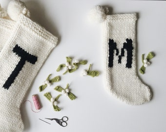 Reserved for Alixnf ,Pet knit personalized letter initial Christmas stocking, small/pet sized