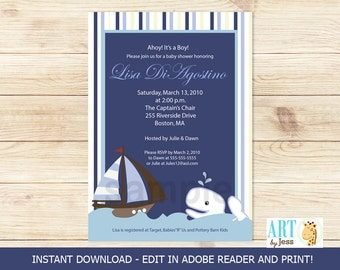 Ahoy Mate White Whale Boy Baby Shower Invitations | Editable Text INSTANT DOWNLOAD