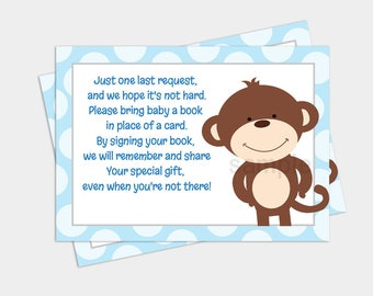 Happy Monkey Boy Baby Shower Bring a Book Card Request INSTANT DOWNLOAD bs-062