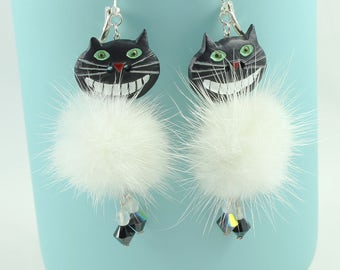 Cat earrings, cheshire cat, white mink fur, mink fur, Swarovski Crystal, alice in wonderland, tim burton