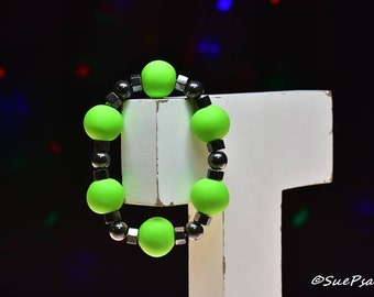 Beaded Magnetic Bracelet, Polymer Clay and Magnetic Beads, Stretchy Bracelet, Lime Green, Polymer Clay Bracelet, Hand Sculpted, Made to fit
