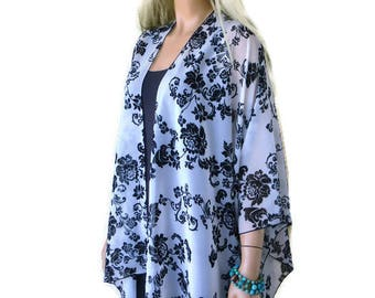 Kimono cardigan -Dark navy and white floral scroll print-oversize chiffon kimono- summer collection-Beach Pareo