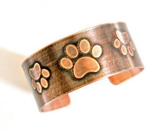 Paw Prints Etched Copper Cuff - Solid 18 gauge copper, Handcrafted, Animal Lover, Dogs, Cats, Rescue, Furry Friends