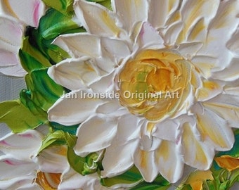 Oil painting , yellow white and gray , impasto, floral oil, original oil, daisy