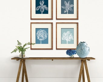 Flower Heads (Series C) Set of 4 - Art Prints (Featured in Navy, Denim Blue, Blue Linen and Slate Blue) Colors Customizable