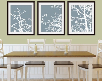 Cherry Blossom Tree Branches (Series C) Set of 3 - Art Prints (Featured in Lavender and White) Nature Woodland Inspired