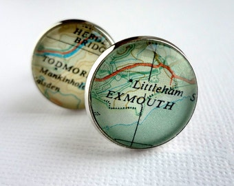 Retirement Gift, Map Cufflinks for Grandfather, Personalised for Him with Placenames