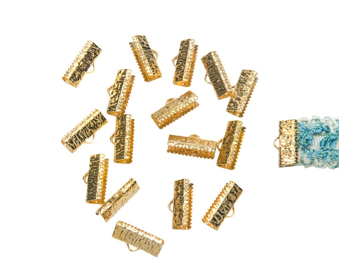 150pcs.  16mm ( 5/8 inch )  Gold Ribbon Clamp End Crimps - Artisan Series