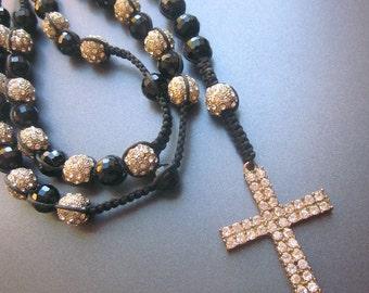 Large Crystal Black Glass Rosary Rhinestone Cross Handmade
