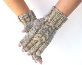 Wool blend fingerless gloves knit gloves Oatmeal gift for her womens mittens Valentines Day girlfriend gift handknit rustic handmade in USA