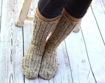 Below the knee socks rustic style womens socks hand knit leg warmers handmade long socks winter socks knee high socks Christmas gift for her