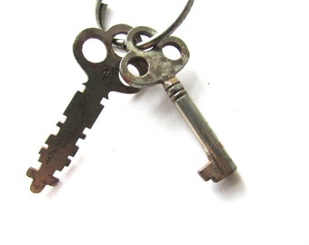 Skeleton Key Lot 2 pc Barrel Tresfoil Flat Vintage Steampunk Gothic Victorian Assemblage Jewelry Supply Silver Tone Gate Keeper