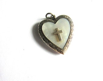Religious Heart Locket Necklace Mother Of Pearl Sterling Silver Cross Sweetheart Vintage Valentines Day MOP