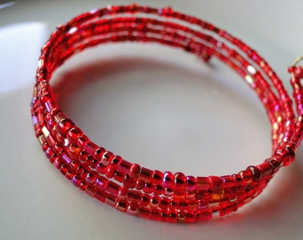 Red beaded coil wrap bracelet, memory wire