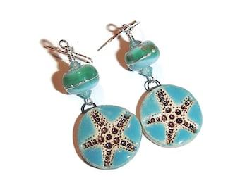 Lamwork and Ceramic Starfish Earrings Beach Earrings Starfish Sea Summer Jewelry