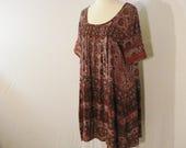 Boho Hippie Vintage Geometric Smock Dress / Tunic Top Vintage Chic ML